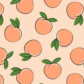 peaches -  polka dots on peach