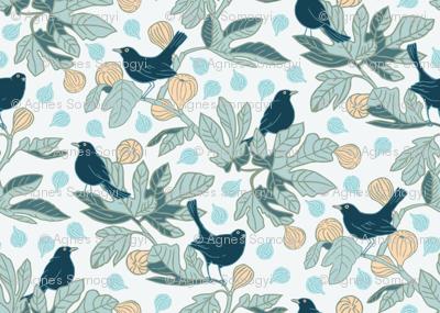 Balckbirds on the Fig Tree