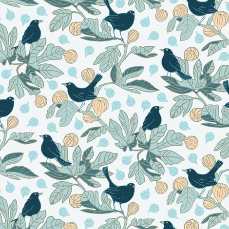 Balckbirds on the Fig Tree fabric by agnessomogyi on Spoonflower - custom fabric