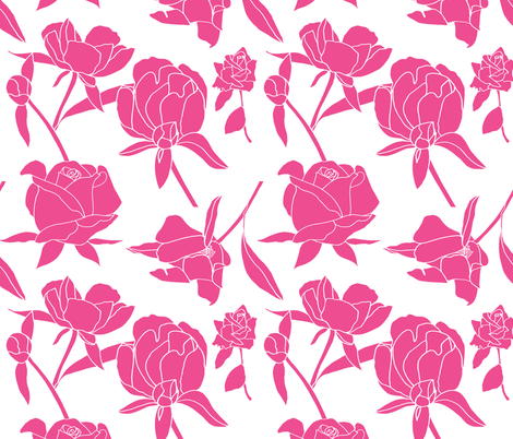 Rose blossoms in deep pink fabric by kendrashedenhelm on Spoonflower - custom fabric