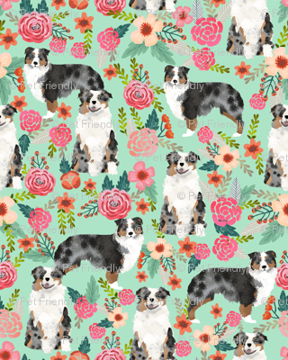 aussie dog floral (smaller scale) fabric best blue merle dogs fabric australian shepherd dogs fabric aussie dog fabric