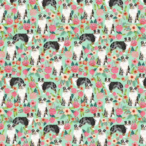 aussie dog floral (smaller scale) fabric best blue merle dogs fabric australian shepherd dogs fabric aussie dog fabric fabric by petfriendly on Spoonflower - custom fabric