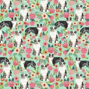 aussie dog floral (smaller scale) fabric best blue merle dogs fabric australian shepherd dogs fabric aussie dog fabric