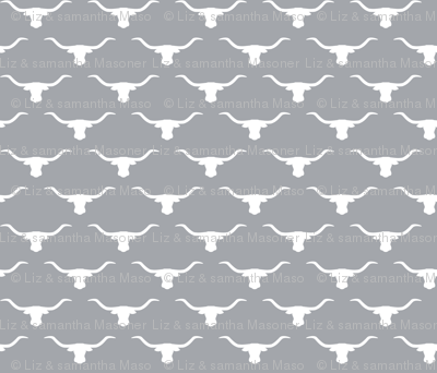 Longhorn Head Silhouette White Gray