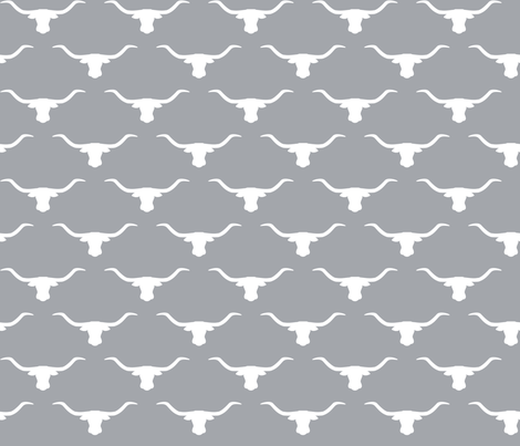 Longhorn Head Silhouette White Gray fabric by themadcraftduckie on Spoonflower - custom fabric