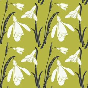 Snowdrops in Green and Navy, Large