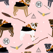 pitbull magic witch wizard dog breed fabric pink