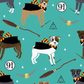 pitbull magic witch wizard dog breed fabric teal