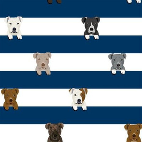 pitbull stripes dog breed fabric navy