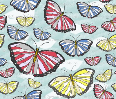 butterflies on sky