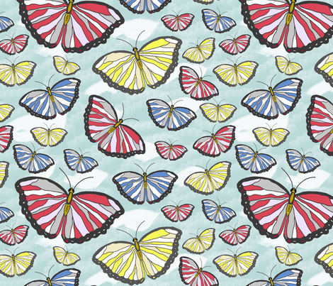 butterflies on sky fabric by zuzana_kokkinou on Spoonflower - custom fabric