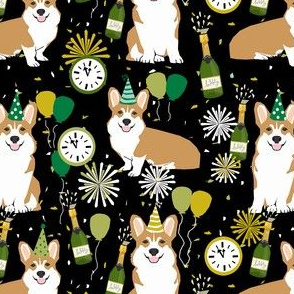 corgi new years eve dog breed party fabric dark