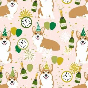 corgi new years eve dog breed party fabric light pink