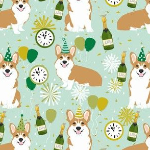 corgi new years eve dog breed party fabric mint
