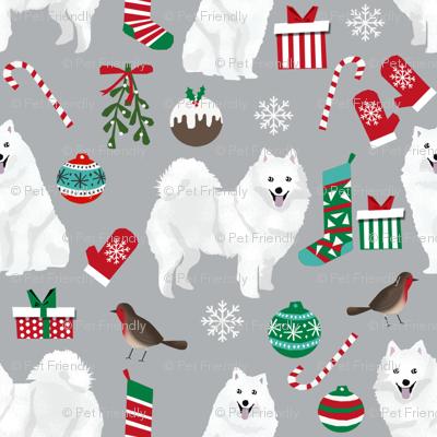 japanese spitz christmas fabric dog breed grey