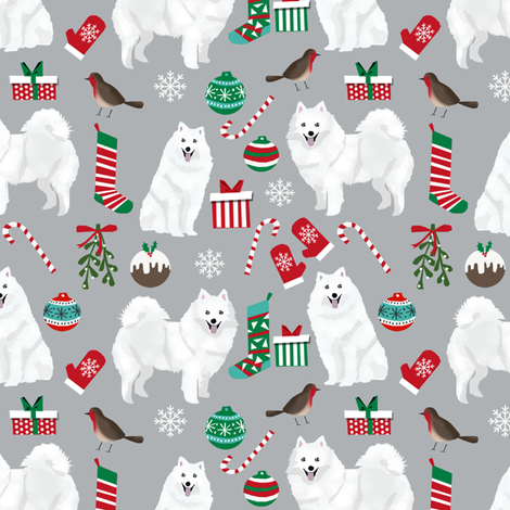 japanese spitz christmas fabric dog breed grey fabric by petfriendly on Spoonflower - custom fabric