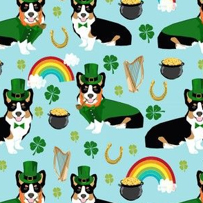 tricolored corgi leprechaun st patrick's day dog breed fabric blue