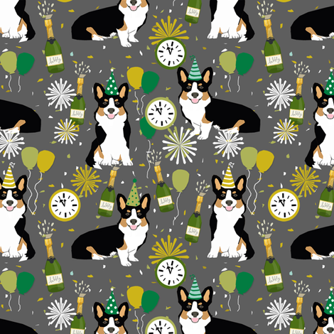 tricolored corgi new year's eve party day dog breed fabric grey fabric by petfriendly on Spoonflower - custom fabric