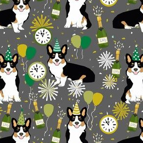 tricolored corgi new year's eve party day dog breed fabric grey