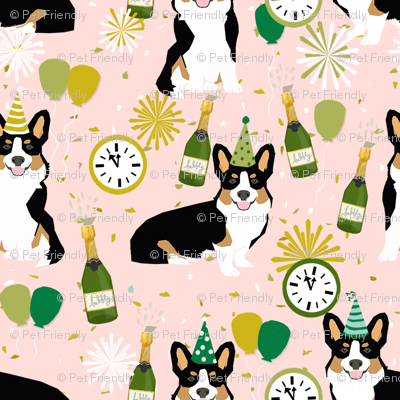 tricolored corgi new year's eve party day dog breed fabric pink