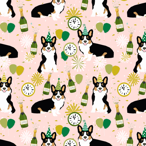 tricolored corgi new year's eve party day dog breed fabric pink fabric by petfriendly on Spoonflower - custom fabric