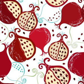 Pomegranate seamless pattern II white