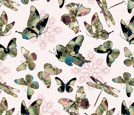 Fairytale Butterflies and Dragonfly 9 fabric by pearlposition on Spoonflower - custom fabric