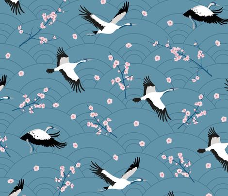 SpringCranes_bluegrey2 fabric by kasumi_design on Spoonflower - custom fabric