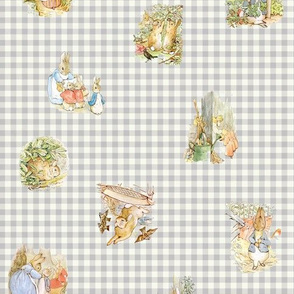 Beatrix Potter Peter Rabbit Tossed Characters - lt gray gingham