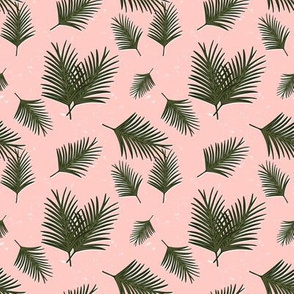 Smaller Tropical Palm Green Leaves on Distressed Blush