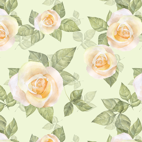 Yellow roses fabric by gribanessa on Spoonflower - custom fabric