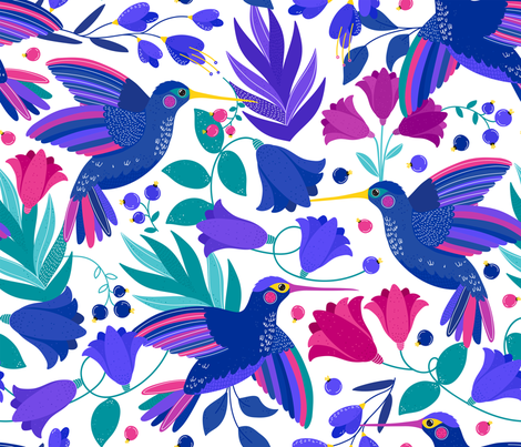 Majestic Hummingbird fabric by hala_kobrynska on Spoonflower - custom fabric