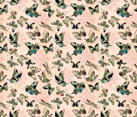 Fairytale Butterflies and Dragonfly 3 fabric by pearlposition on Spoonflower - custom fabric