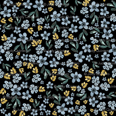 """6"""" Western Autumn Blue and Gold Florals Black"""