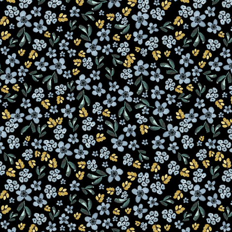 """6"""" Western Autumn Blue and Gold Florals Black fabric by shopcabin on Spoonflower - custom fabric"""