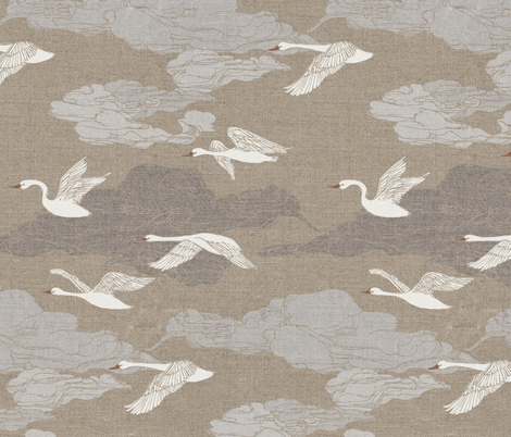 The Wild Swans fabric by ceciliamok on Spoonflower - custom fabric