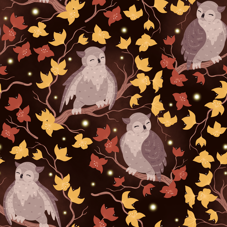 Owls fabric by elena_naylor on Spoonflower - custom fabric