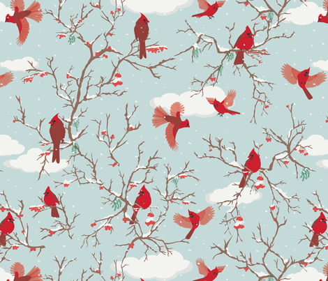 Winter flights  fabric by geetanjali on Spoonflower - custom fabric