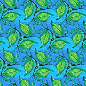 Three Green Leaves Twirling on Blue Stripe