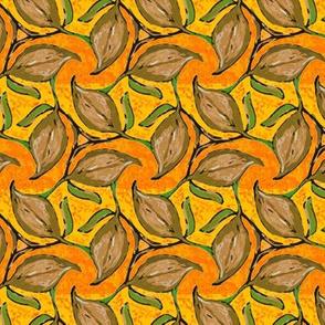 Three Brown Leaves Twirling on Orange Stripe