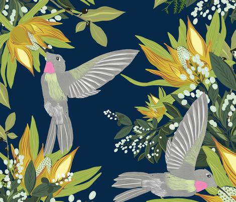 Fleeting Hummingbird fabric by cacostadesign on Spoonflower - custom fabric