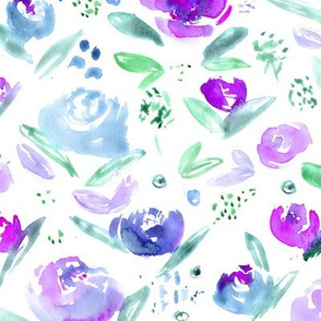 Sweet garden in purple and blue || watercolor floral pattern