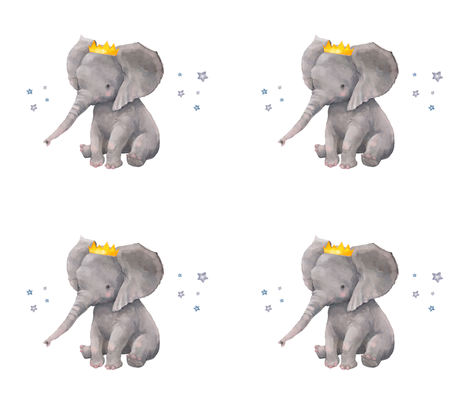 Baby Boy Elephant with Crown and Stars Pillow fabric by shopcabin on Spoonflower - custom fabric