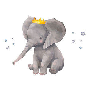 Baby Boy Elephant with Crown and Stars Pillow