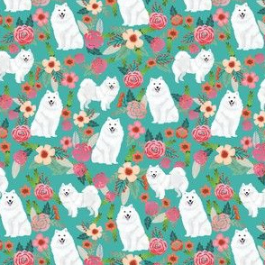 japanese spitz (smaller scale) dog florals fabric dogs and flowers design - turquoise