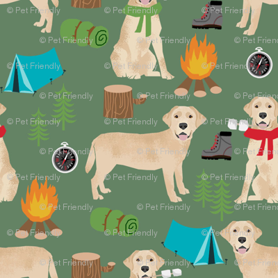 yellow labrador camping outdoors dog breed fabric green