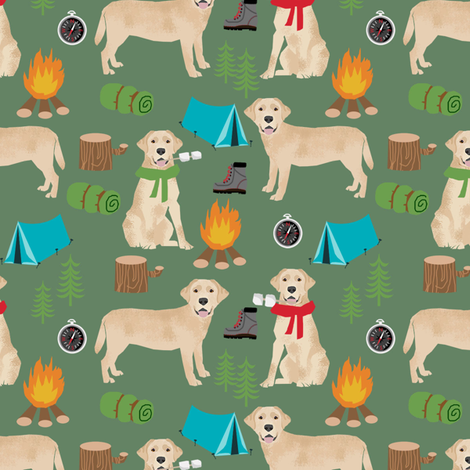 yellow labrador camping outdoors dog breed fabric green fabric by petfriendly on Spoonflower - custom fabric