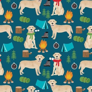 yellow labrador camping outdoors dog breed fabric navy