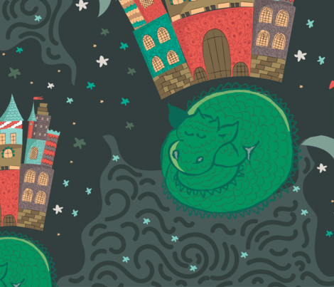 Sleepy Dragon  fabric by cacostadesign on Spoonflower - custom fabric