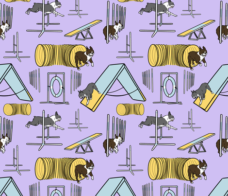 Simple Boston Terrier agility dogs - purple fabric by rusticcorgi on Spoonflower - custom fabric